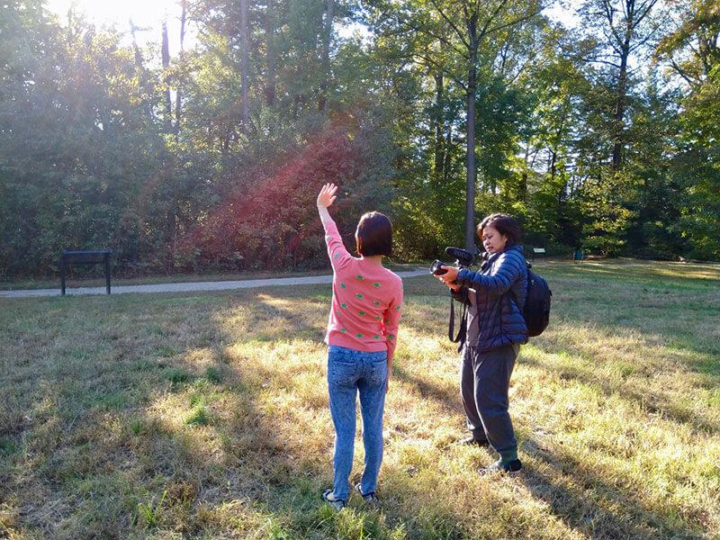 pengambilan gambar Andrea di taman