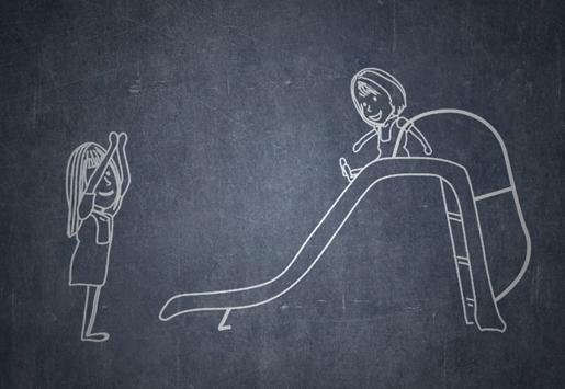 Gambar animasi Andrea dan Salsabila waktu kecil bermain tangga dan prosotan